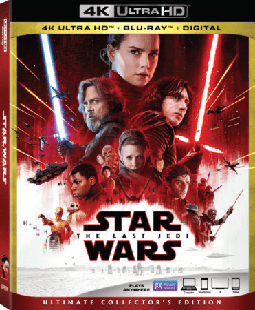 Lucasfilm's Star Wars: The Last Jedi on HD and 4K Ultra HD™ and via Movies Anywhere 3/13 and on 4K Ultra HD™ Blu-ray, and Blu-ray™ 3/27 1
