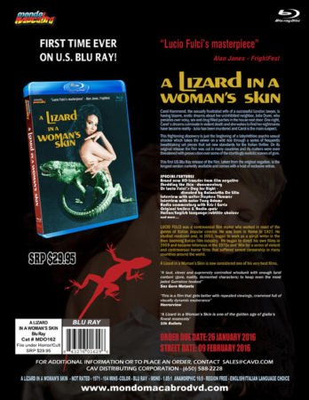 A LIZARD IN A WOMAN'S SKIN hits BLU-RAY for the first time in America. 7
