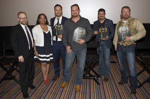 """The GI Film Festival honored Mark """"Oz"""" Geist, John """"Tig"""" Tiegen and Kris """"Tanto"""" Paronto with the GI Hero Award and actor Dominic Fumusa with the GI Choice Award at the closing ceremony on Sunday, May 29, 2016 in Washington, DC. From left to right, GI Film Festival co-founders - Brandon Millet and Laura Law-Millet, actor Dominic Fumusa, Annex Security Team members - John """"Tig"""" Tiegen, Kris """"Tanto"""" Paronto and Mark """"Oz"""" Geist. The film is now available on Digital HD and arrives on Blu-ray June 7 on Sunday, May 29th, 2016, in Fairfax, Va. (Photo by Nick Wass/Invision for Paramount Pictures/AP Images)"""