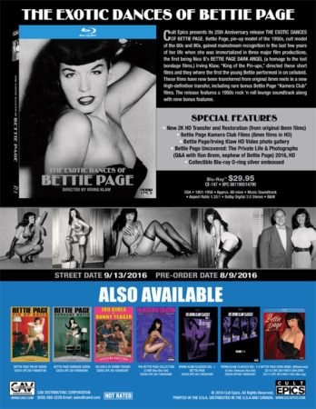 eoxtic dances of bettie page sale sheet from cult epics