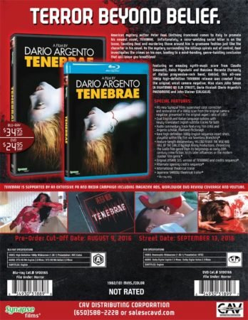 "Dario Argento's ""Tenebrae"" Arriving On Blu-ray & DVD This September 5"