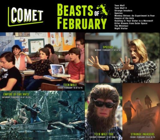 Airing on COMET TV: The Beasts of February! Teen Wolf! Species! Strange Invaders! 5