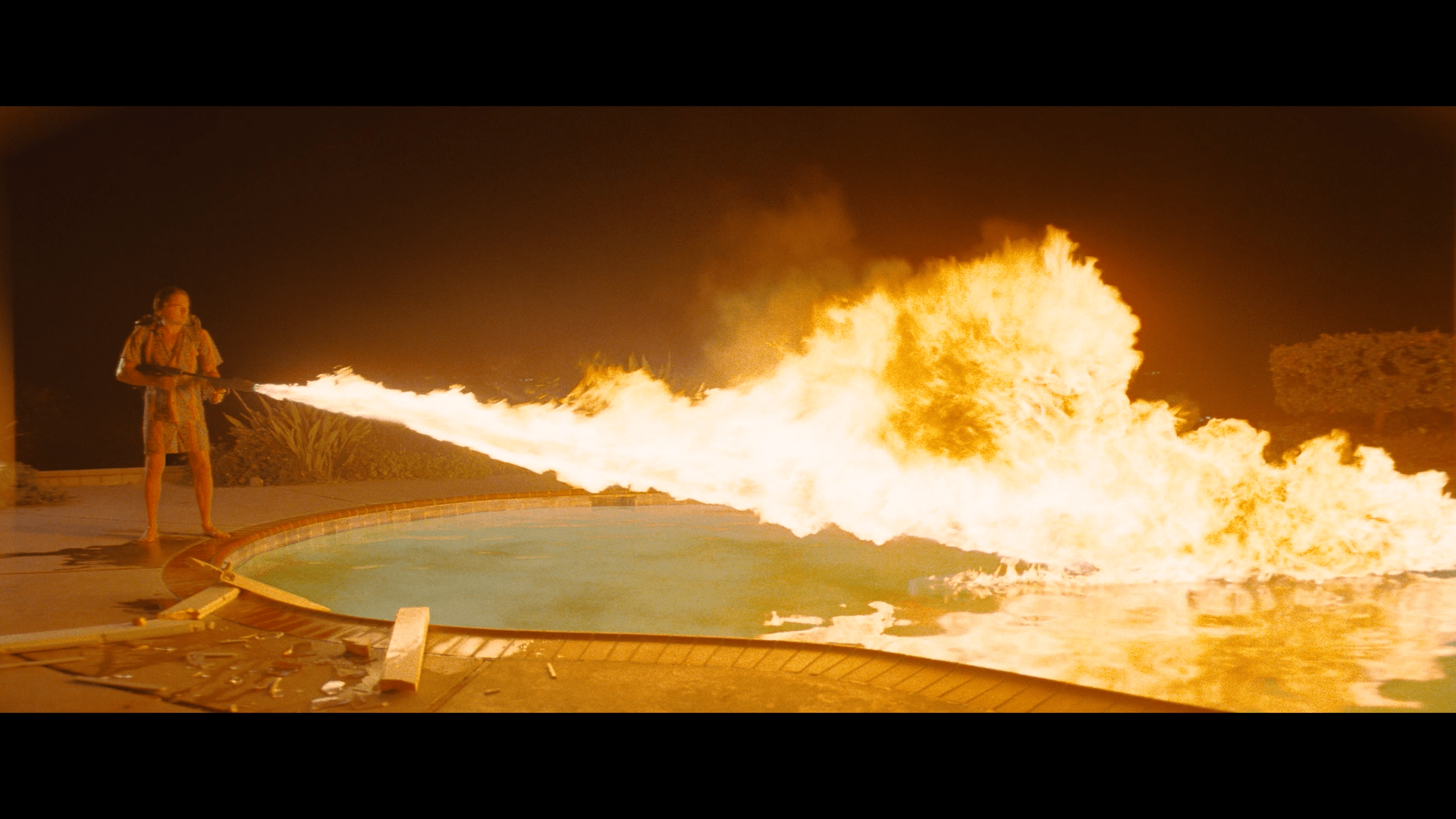 Once Upon A Time in Hollywood Leonardo DiCaprio flamethrower pool 2019