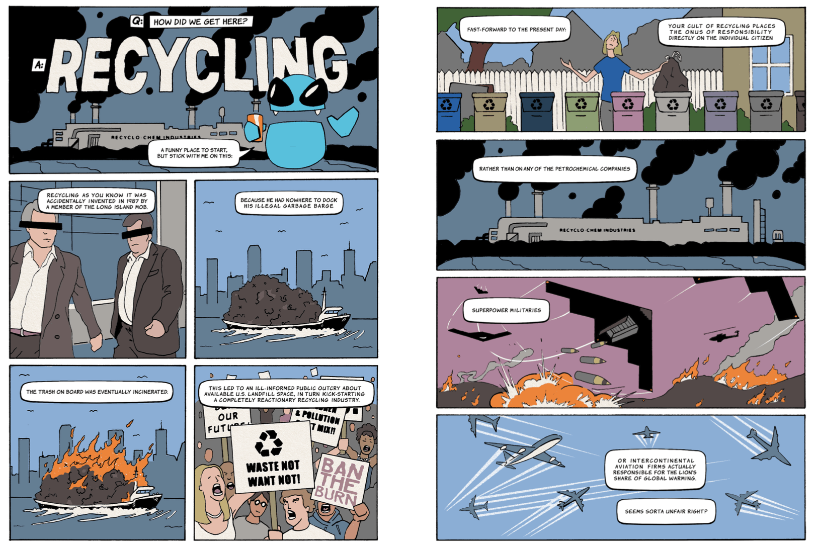 how did we get here interior comic page about recycling