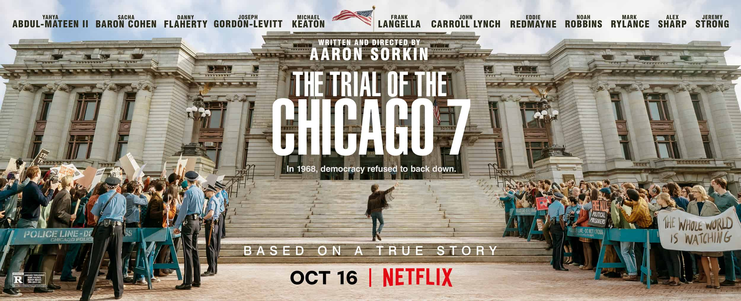 The Trial of the Chicago 7 movie banner